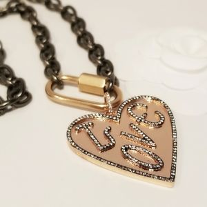 Rosegold Love Heart Carabiner Lock Necklace